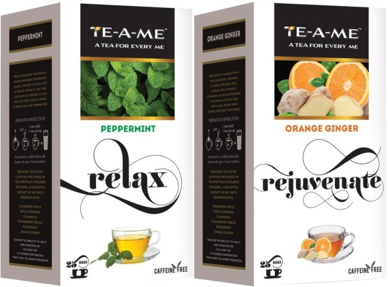 TE-A-ME Orange Ginger Infusion Tea & Peppermint Infusion Tea Combo Peppermint, Orange, Ginger Green Tea Bags(50 Bags, Box)