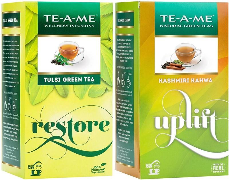TE-A-ME Tulsi Green Tea & Kashmiri Kahwa Tea Combo Tulsi Green Tea Bags(50 Bags, Box)