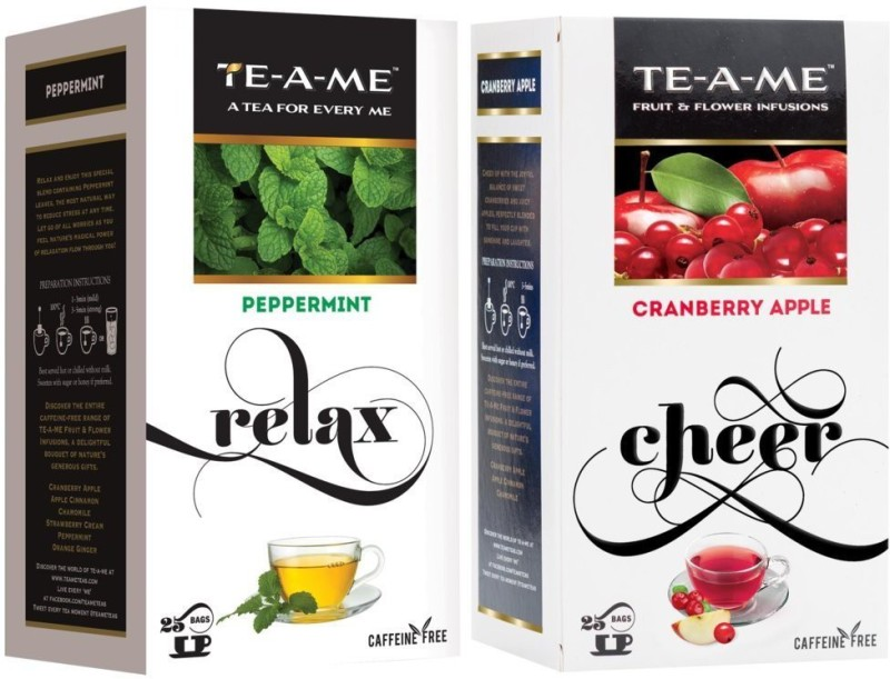 TE-A-ME Cranberry Apple Fruit and Flower Herbal Tea Infusion & Peppermint Infusion Tea Combo Cranberry, Peppermint, Apple Green Tea Bags(50 Bags, Box)