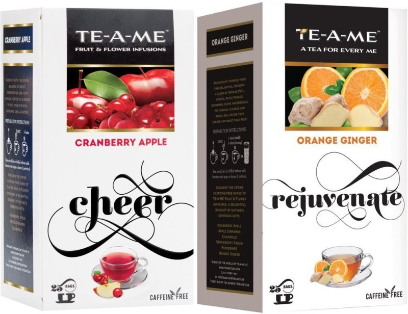 TE-A-ME Orange Ginger Infusion Tea & Cranberry Apple Fruit and Flower Herbal Tea Infusion Tea Combo Cranberry, Orange, Ginger Green Tea Bags(50 Bags, Box)