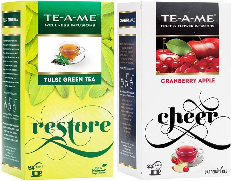 TE-A-ME Tulsi Green Tea & Cranberry Apple Tea Combo Cranberry, Apple, Tulsi Green Tea Bags(50 Bags, Box)