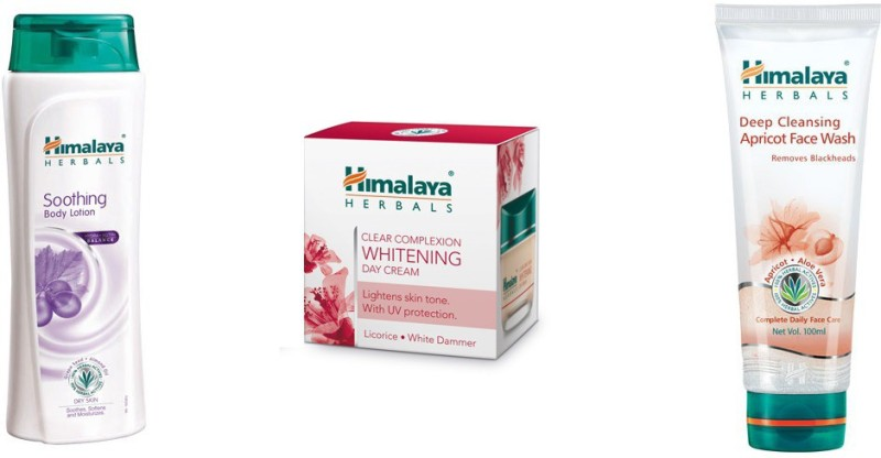 Himalaya soothing body lotion, clear complixion whithing day cream, deep cleansing apricot face wash(3 Items in the set)