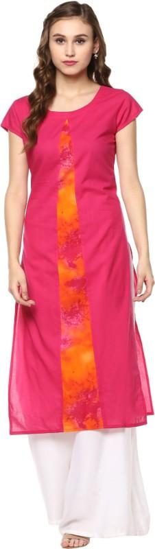 Krapal Casual Solid Women Kurti(Pink, Orange)