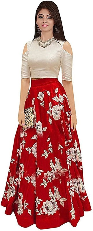 F Plus Fashion Floral Print Semi Stitched Lehenga Choli(Red)