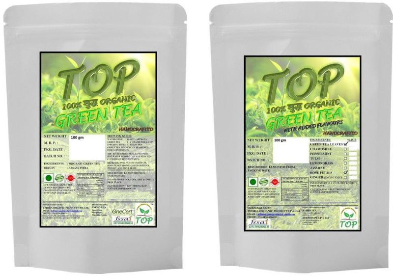 TOP Organic Green Tea with Organic Rose Green Tea (200 gms) Herbal Tea(200 g, Vacuum Pack)
