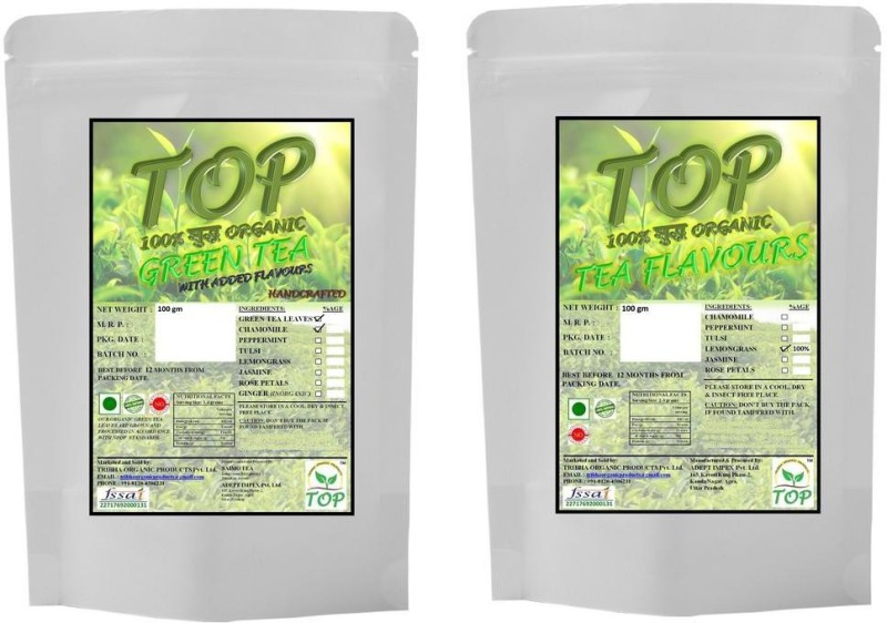 TOP Organic Lemongrass Tea with Organic Jasmine Green Tea (200 gms) Herbal Tea(200 g, Vacuum Pack)