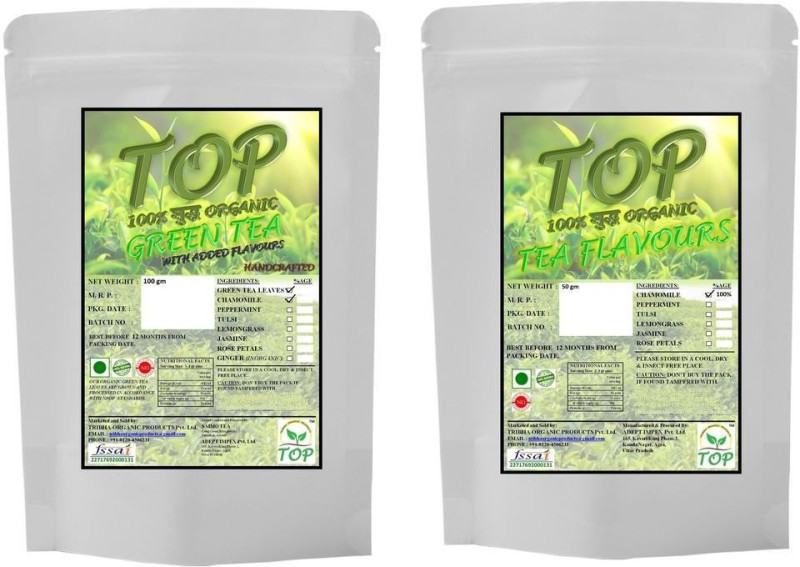 TOP Organic Chamomile Green Tea with Organic Chamomile Tea (150 gms) Herbal Tea(150 g, Vacuum Pack)