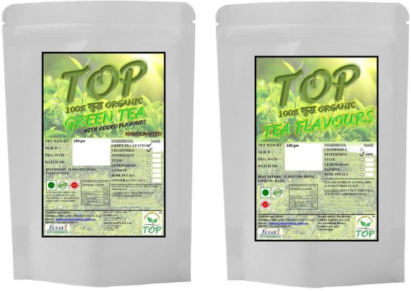 TOP Organic Mint Tea with Organic Jasmine Green Tea (200 gms) Herbal Tea(200 g, Vacuum Pack)