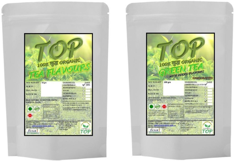 TOP Organic Chamomile Tea with Organic Rose Green Tea (150 gms) Herbal Tea(150 g, Vacuum Pack)