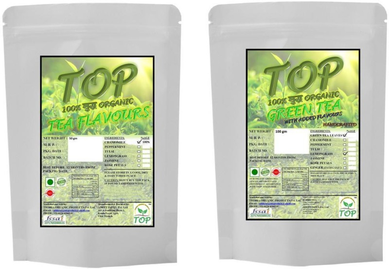 TOP Organic Chamomile Tea with Organic Lemongrass Green Tea (150 gms) Herbal Tea(150 g, Vacuum Pack)