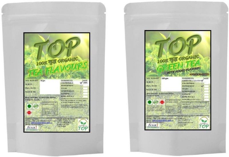 TOP Organic Chamomile Tea with Organic Mint Green Tea (150 gms) Herbal Tea(150 g, Vacuum Pack)