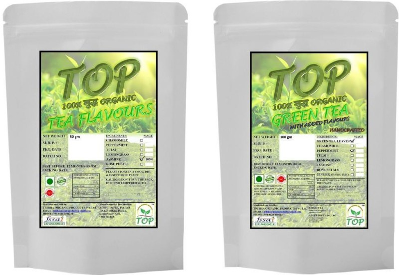 TOP Organic Mint Green Tea with Organic Jasmine Tea (150 gms) Herbal Tea(150 g, Vacuum Pack)