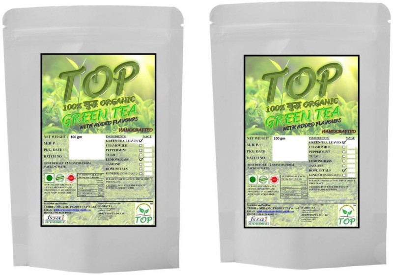 TOP Organic Rose Green Tea with Organic Lemongrass Green Tea (200 gms) Herbal Tea(200 g, Vacuum Pack)
