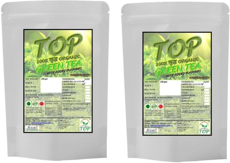 TOP Organic Mint Green Tea with Organic Jasmine Green Tea (200 gms) Herbal Tea(200 g, Vacuum Pack)