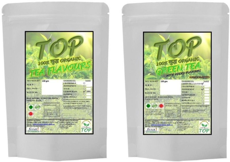 TOP Organic Mint Green Tea with Organic Lemongrass Tea (200 gms) Herbal Tea(200 g, Vacuum Pack)