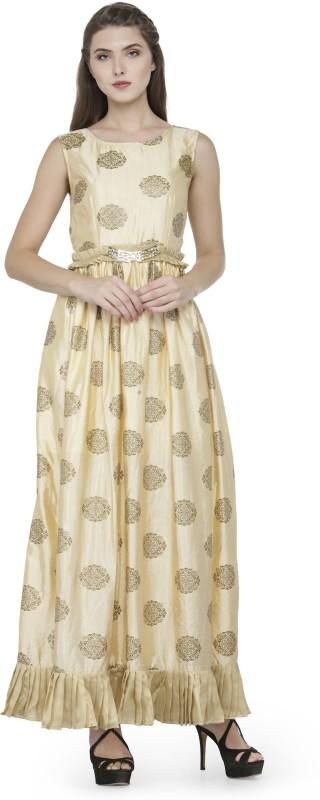 Natty India Women Maxi Beige Dress