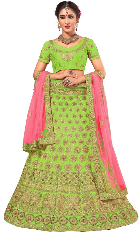 Panash Trends Embroidered Lehenga Choli(Green, Pink)