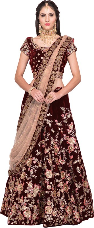 Fabron Velvet Embroidered Semi-stitched Lehenga Choli Material