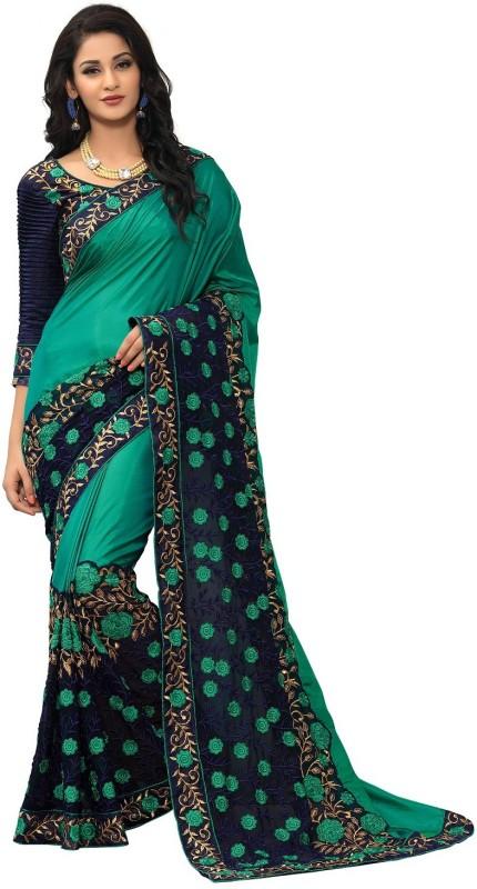 onlinefayda Embroidered Fashion Silk Saree(Dark Green, Dark Blue)