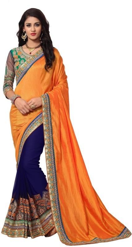 onlinefayda Embroidered Fashion Silk Saree(Orange, Dark Blue)