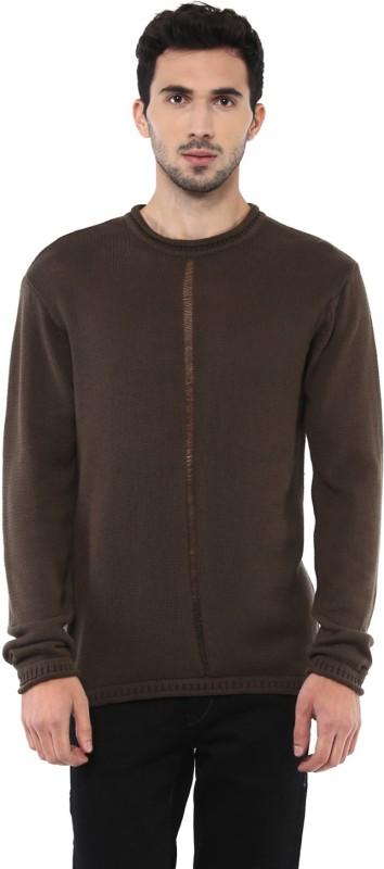 People Solid Crew Neck Casual Men Brown Sweater