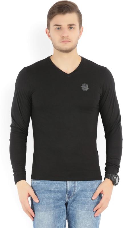 Peter England Solid Mens V-neck Black T-Shirt