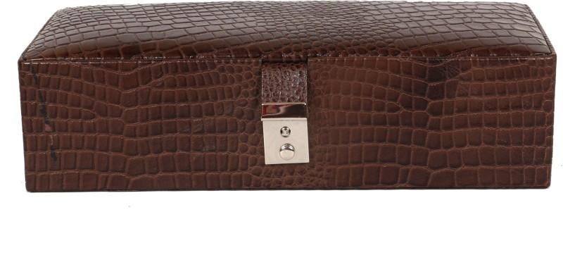 C Comfort Genuine Leather 2 Tray Jewellery Box Jewellery Box Vanity Box(Brown)
