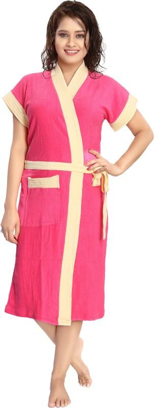 Rangmor Pink, Beige Free Size Bath Robe(1 Bath Robe, For: Women, Pink, Beige)