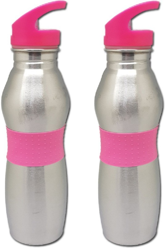 Tuelip Stainless Steel Sports Water Bottle With Sporty Look For Sports Gym Pink ml 750 ml Bottle(Pack of 2, Pink)