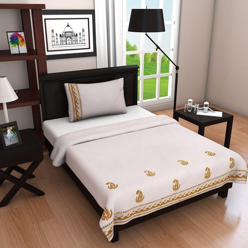 Linenwalas Single Cotton Duvet Cover(Yellow, White)