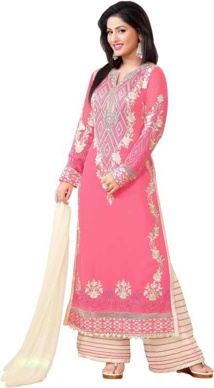 Mada Georgette Embroidered Kurta & Palazzo Material(Unstitched)
