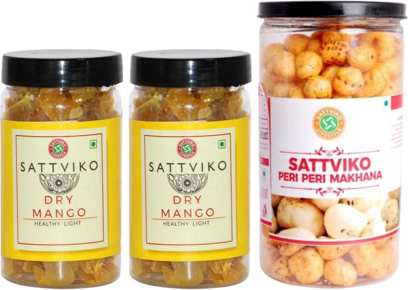 Sattviko Sattviko Makhana and Dry Mango Snacks Combo(Pet Jar - Peri Peri Makhana & 2 Box Dry Mango), 275 gms Combo(275)