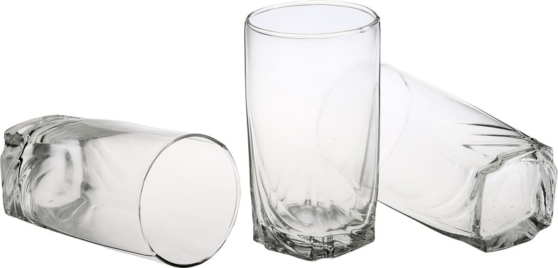 Somil New Stylish & Designer Baverage Tumbler Multipurpose Clear Glass (Set Of 6)-GL27 Glass Set(Glass, 300 ml, Clear, White, Pack of 1)