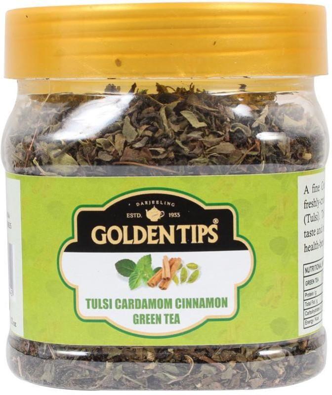 Golden Tips Tulsi Cardamom Cinnamon Green Tea 100g / 3.53oz (40 Cups) Spices Green Tea(100 g, Box)
