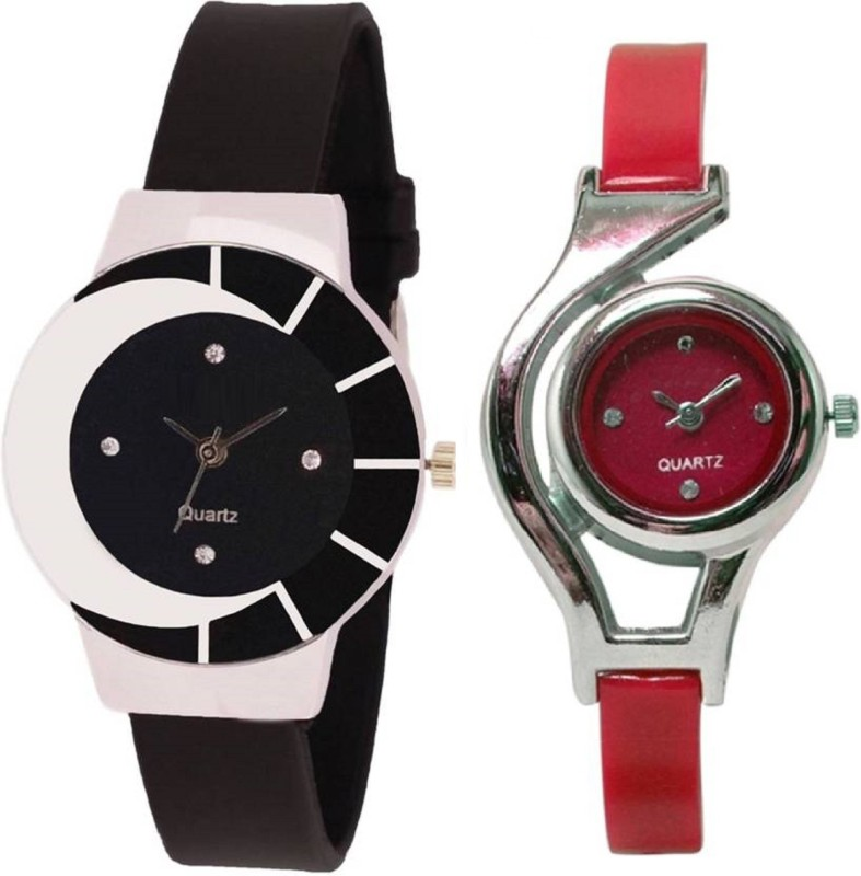 KNACK black white color fancy beautiful glass watch with glory round different shape red women Analog Watch - For Girls