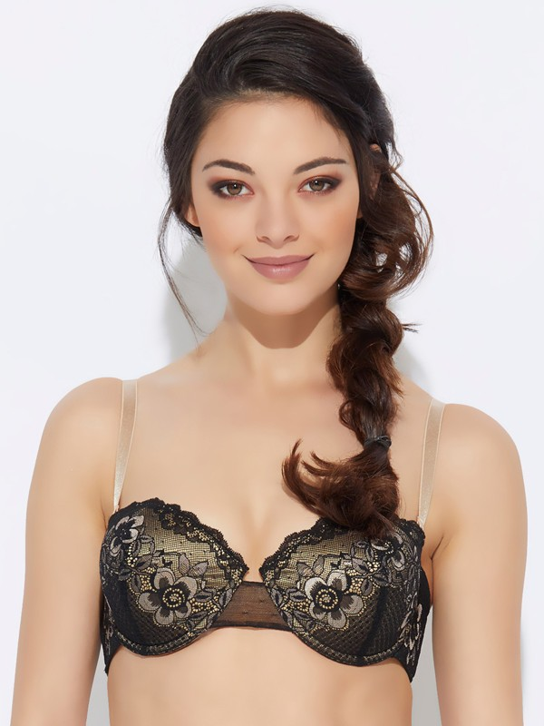 Enamor Women Balconette Lightly Padded Bra(Black)