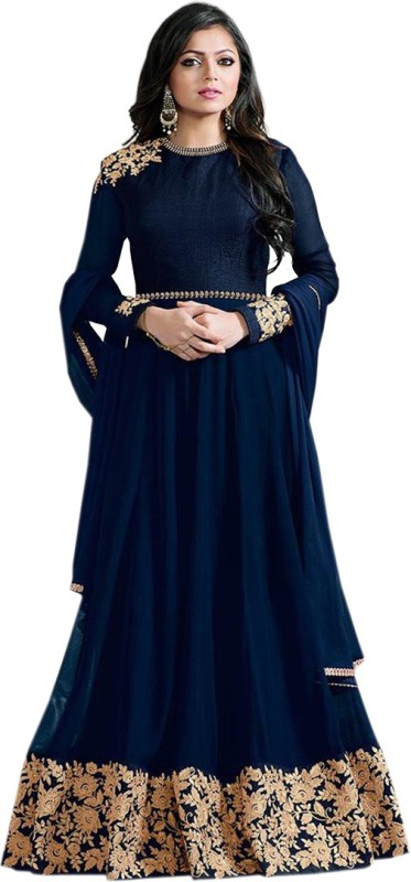 Zelly Creation Cotton Polyester Blend Embroidered Semi-stitched Salwar Suit Dupatta Material