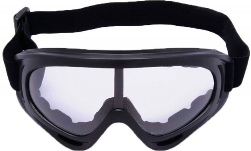 AutoPowerz Dirt Bike Racing Transparent Goggles with Adjustable Strap Motorcycle Goggles (Black) Motorcycle Goggles(White)