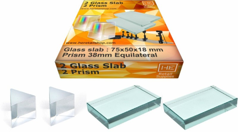 HE Retail Supplies Pack Of 2 Glass Slab + 2 Prism Solid Prism