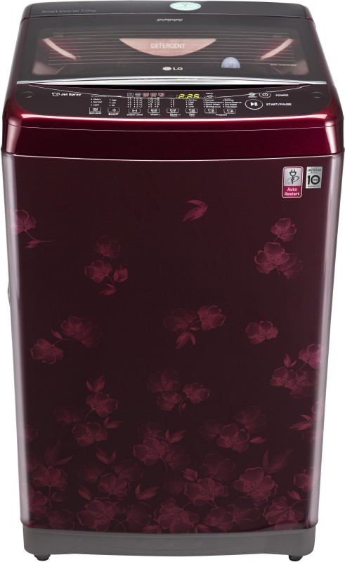 LG 7 kg Fully Automatic Top Load Washing Machine Maroon(T8077NEDLX)