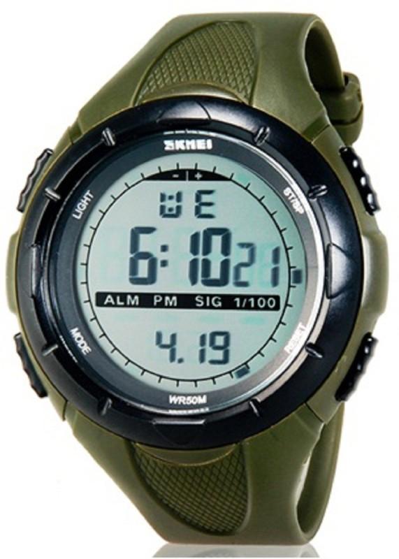 Skmei Sports Digital Grey Dial with Stopwatch, Alarm - ArmyGreen for Men & Boys Men's Watch image