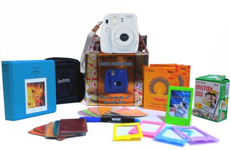 Fujifilm Instax Mini 9 Smokey White Festive Pack Instant Camera(White) image