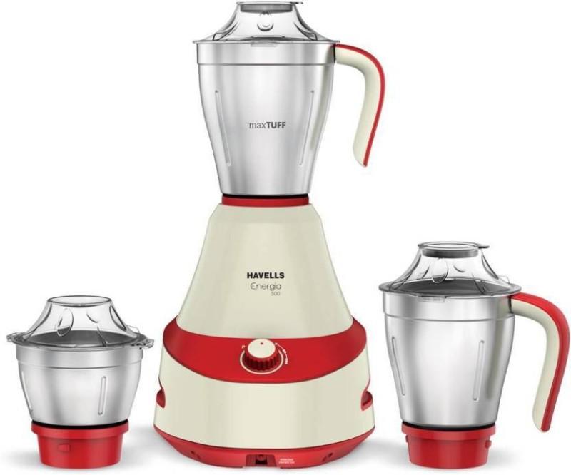 Havells Energia 500 Watt 3 Jar Mixer Grinder (Red) 500 Mixer Grinder(Red, 3 Jars)