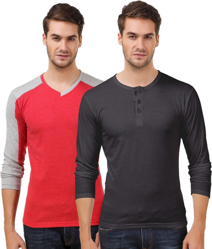 SenVoler Solid Men V-neck Red, Black T-Shirt(Pack of 2)