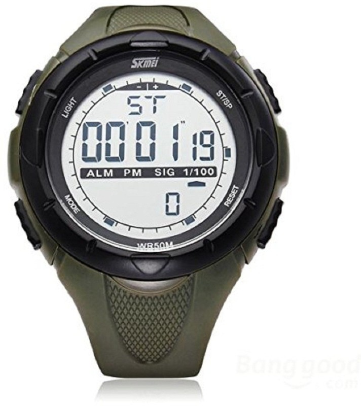 Skmei Sports Digital Grey Dial Men's Watch With Stopwatch , Alarm - Army Green For Men And Boys-Sk1025Armgrn Men's Watch image