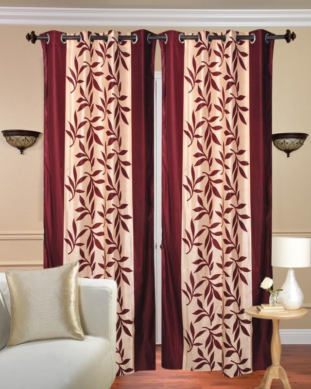 Handloom Hut 213 cm (7 ft) Polyester Door Curtain (Pack Of 2)(Printed, Maroon)
