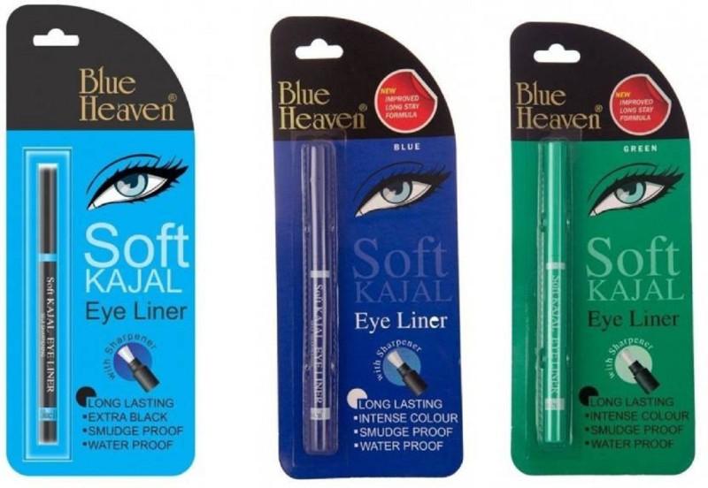 Blue Heaven multi color Soft Kajal black,blue ,green set of 3(black, blue, green, 0.31 g)