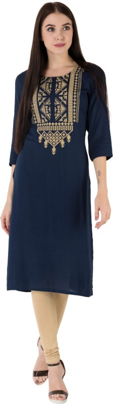 M&D Casual Embroidered Women's Kurti(Dark Blue)