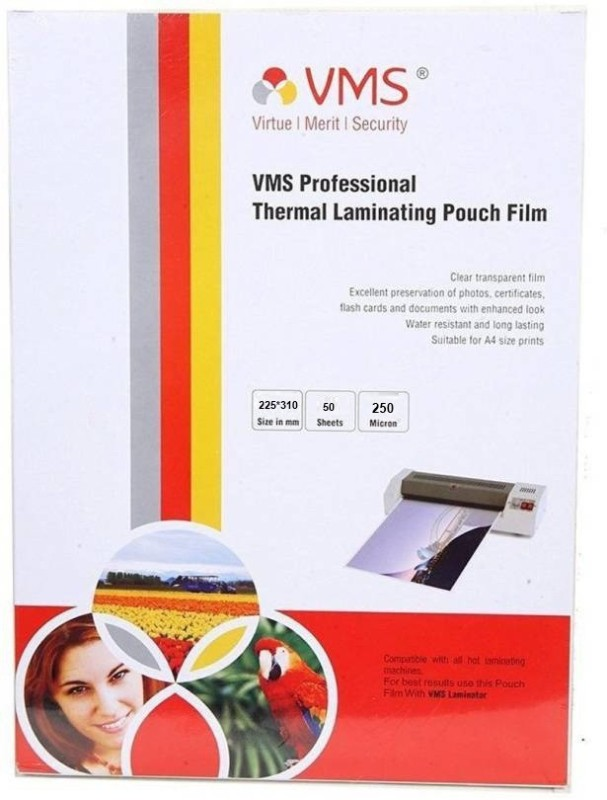 VMS Deluxe 225*310MM 250 Micron Thermal Laminating Pouch 100 Laminating Sheet(9 mil Pack of 1)