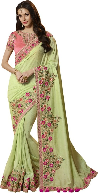 Saara Solid, Embroidered, Embellished Fashion Chiffon, Georgette Saree(Green, Pink)